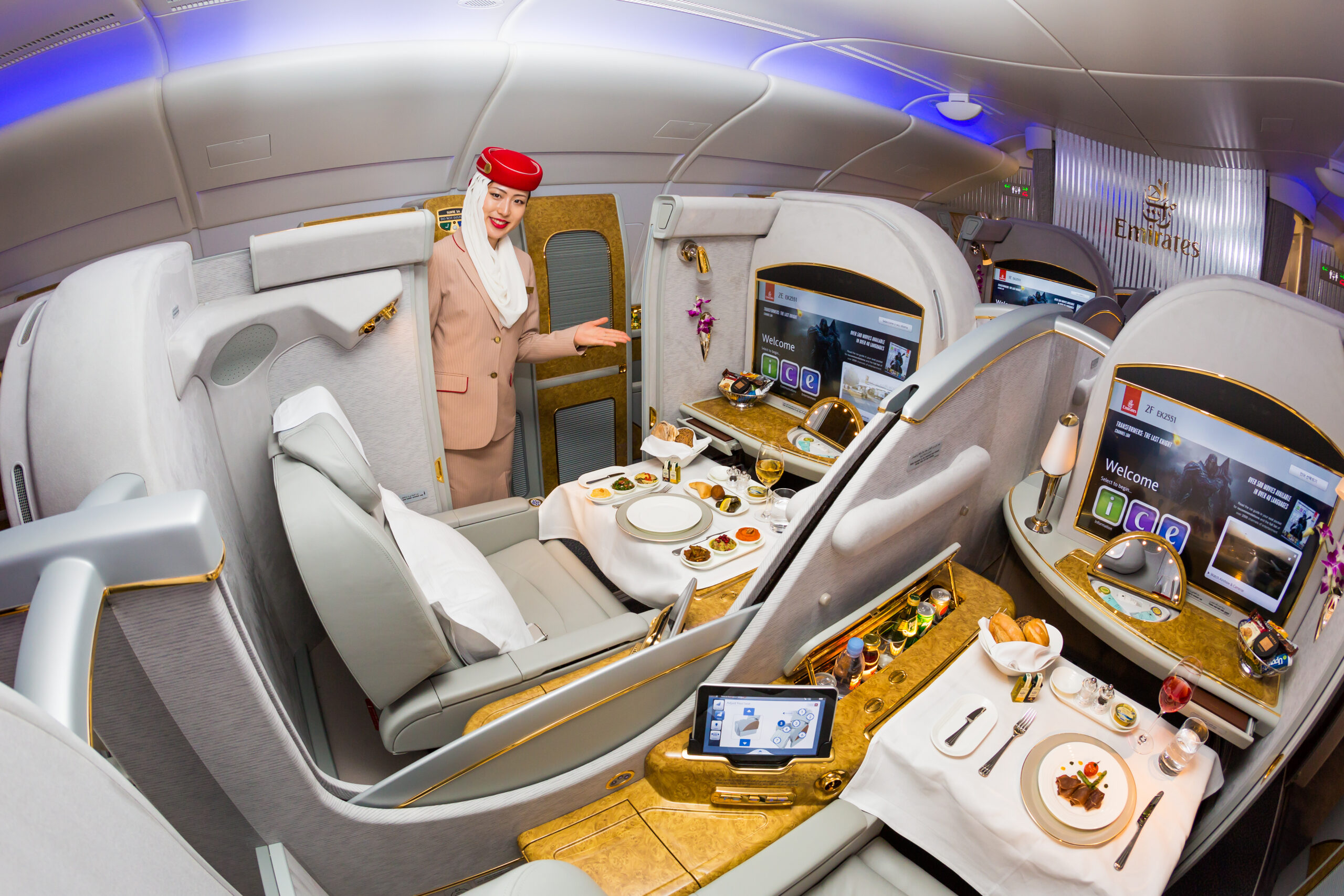 Emirates Airline flight attendant. Emirates first class. Onboard food, dining. Luxury travel. Airbus A380. First class suite.