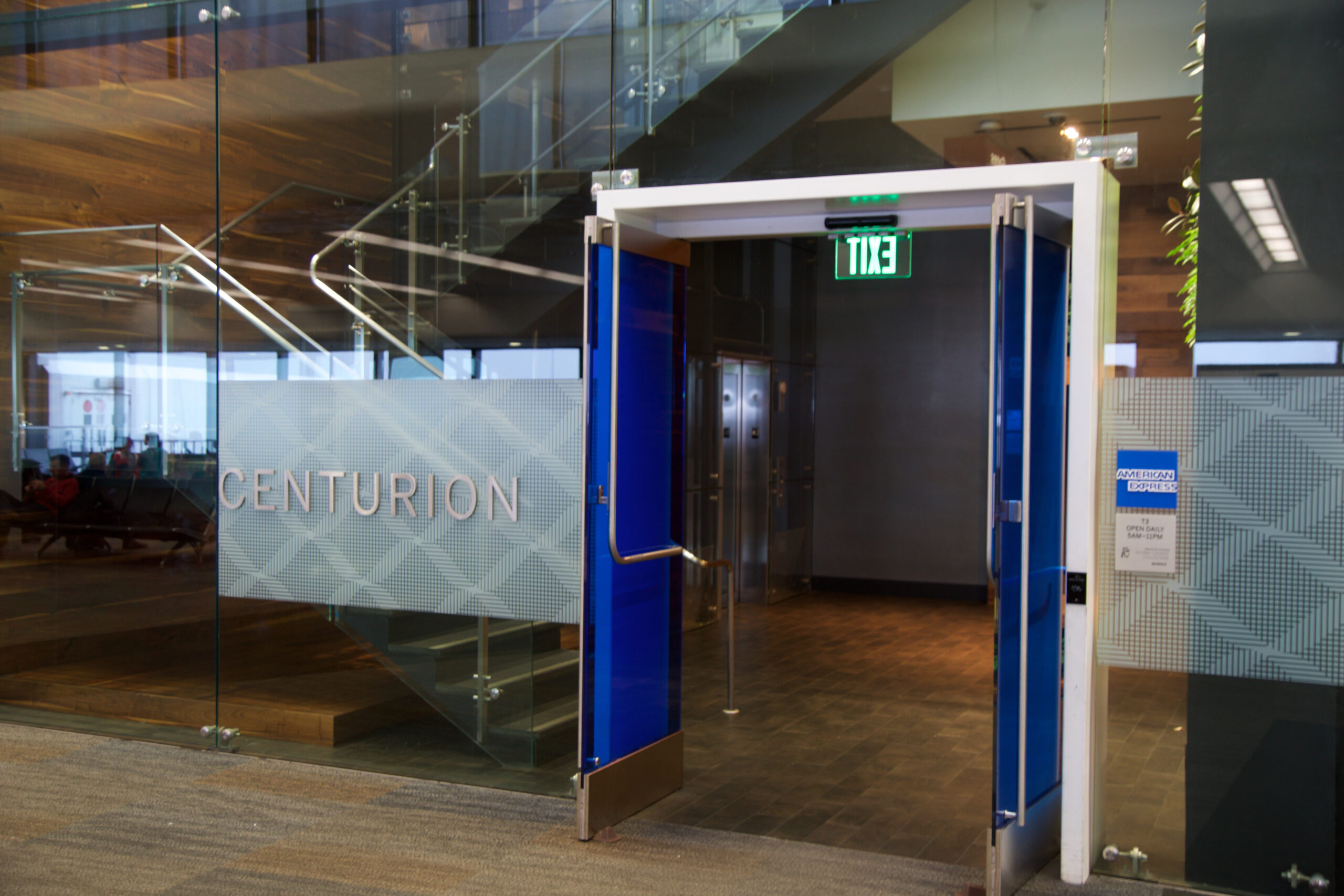 Entrance of the American Express Centurion Lounge at the San Francisco Airport SFO