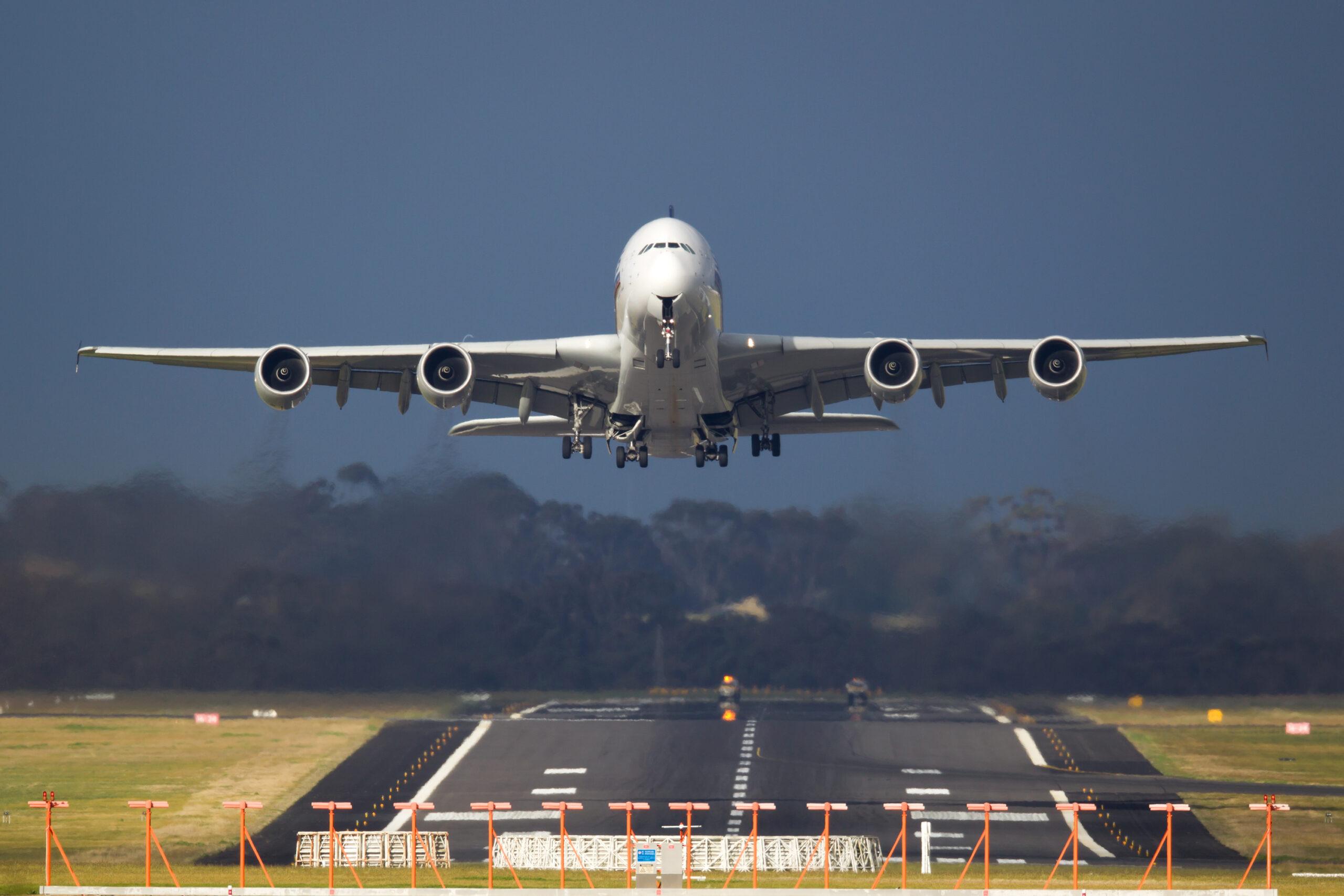 An A380 jumbo jet landing from a flight from Paris.