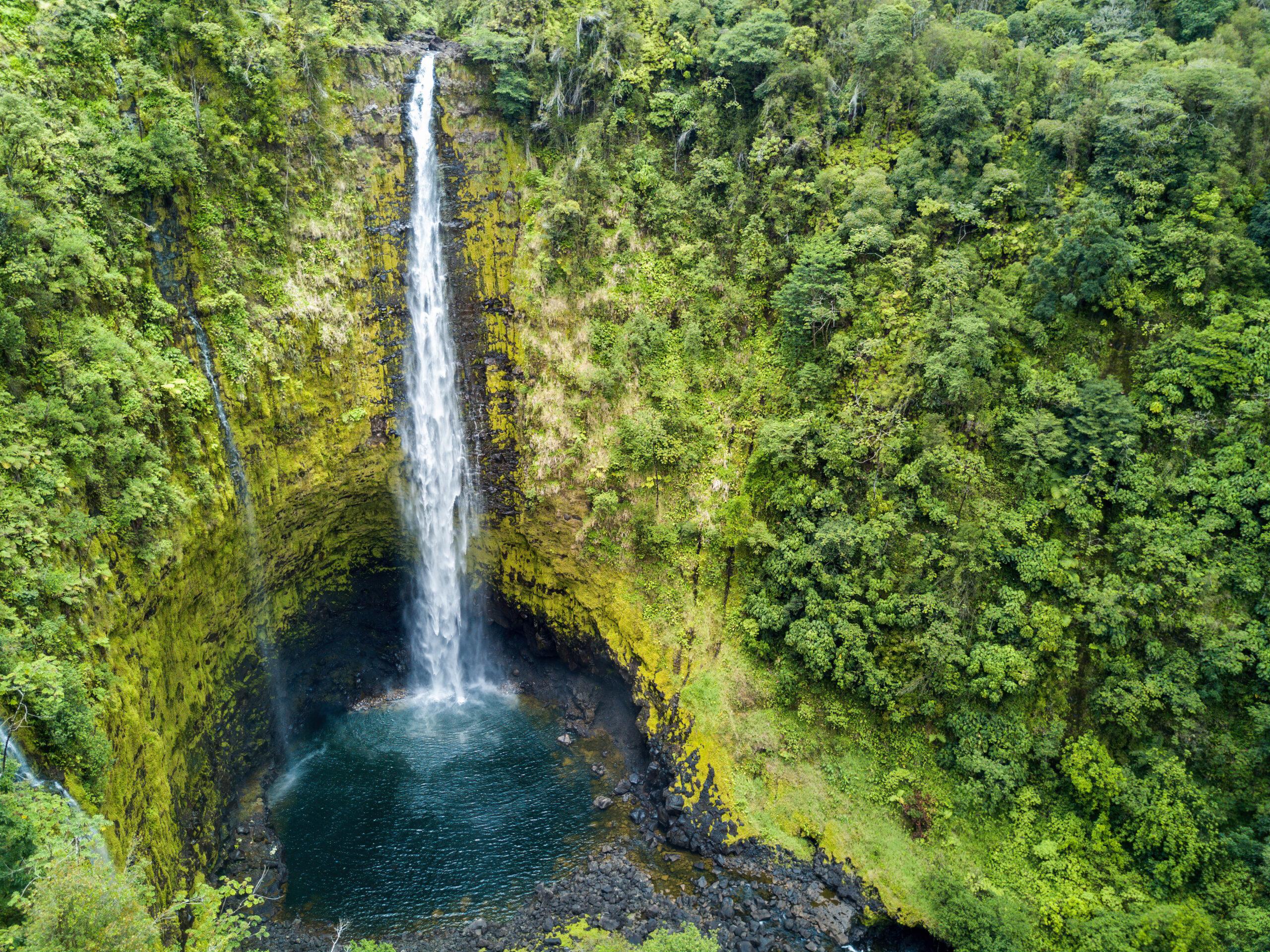 Aerial Drone Shot view of Akaka Falls in Hawaii Big Island Natinal Park.