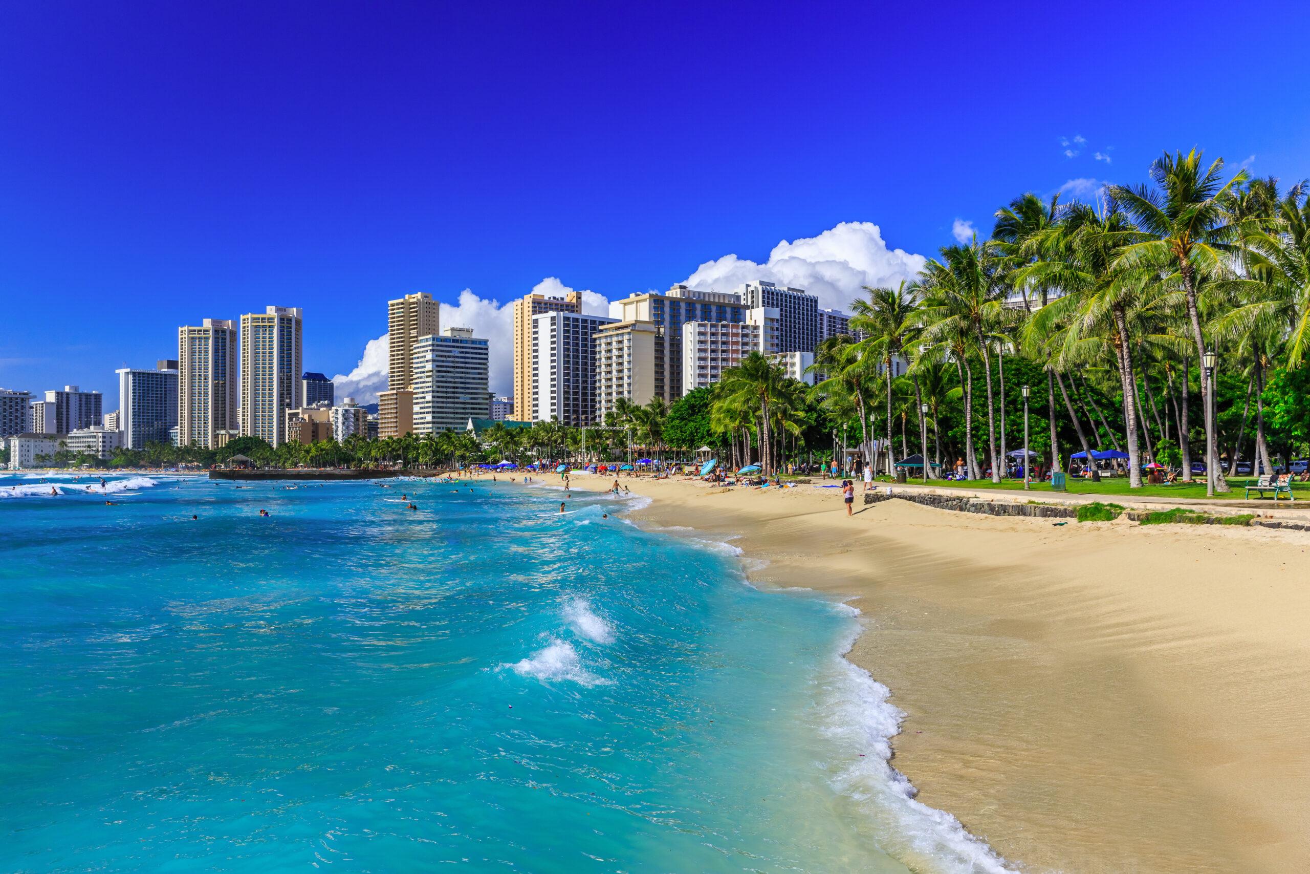 cruising around Hawaii - Honolulu, Hawaii. Waikiki beach and Honolulu's skyline.