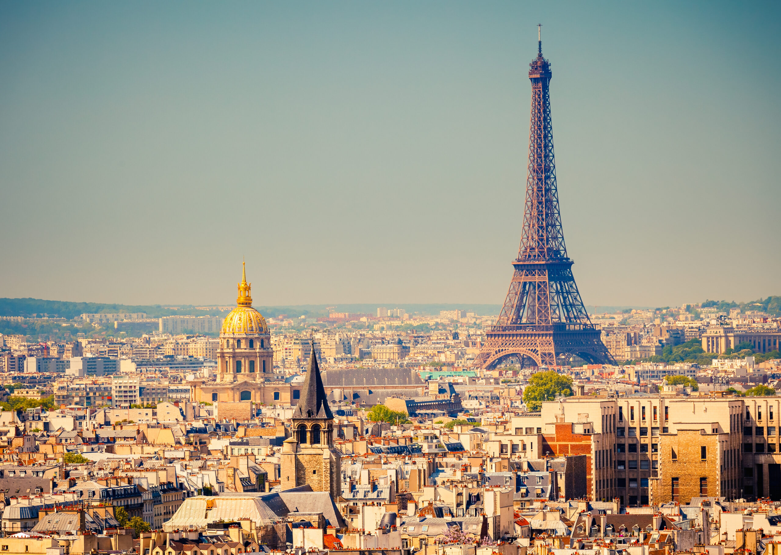 Stunning view of the Eiffel Tower from Paris, France.
