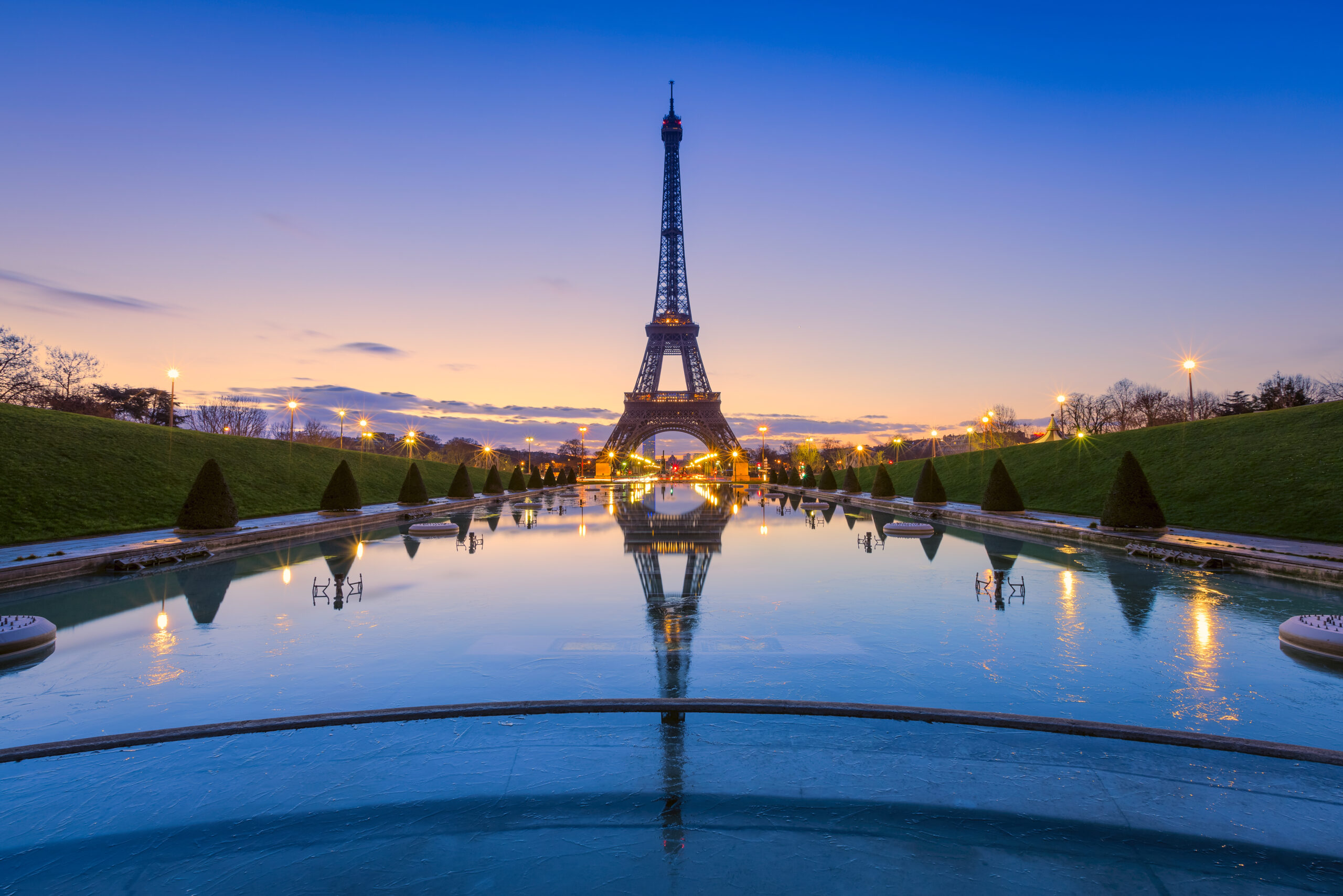 The Eiffel Tower at sunrise from Trocadero.