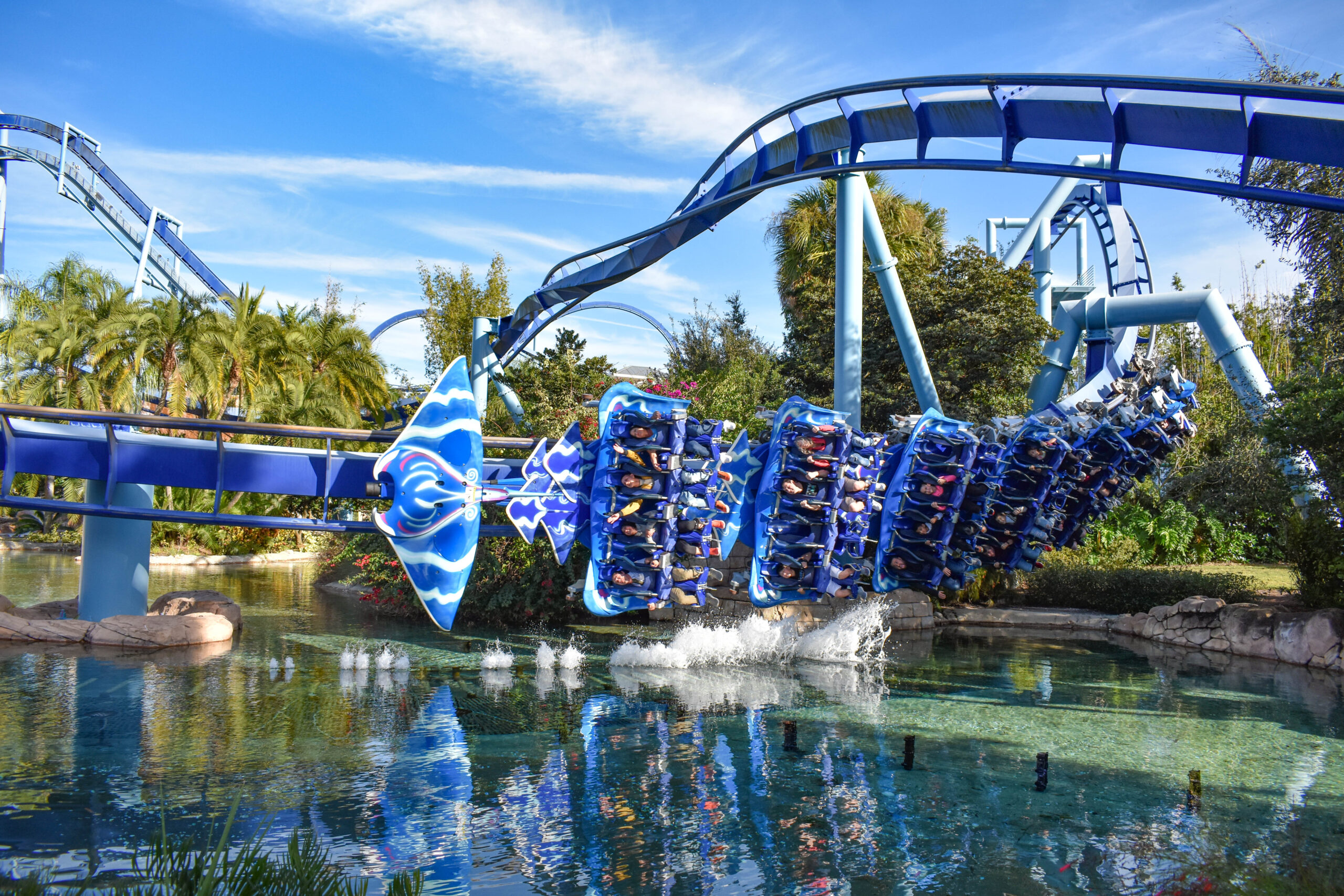 Amazing view of Manta Ray Rollercoaster at Sea World Theme Park at Sea World in International Drive area.