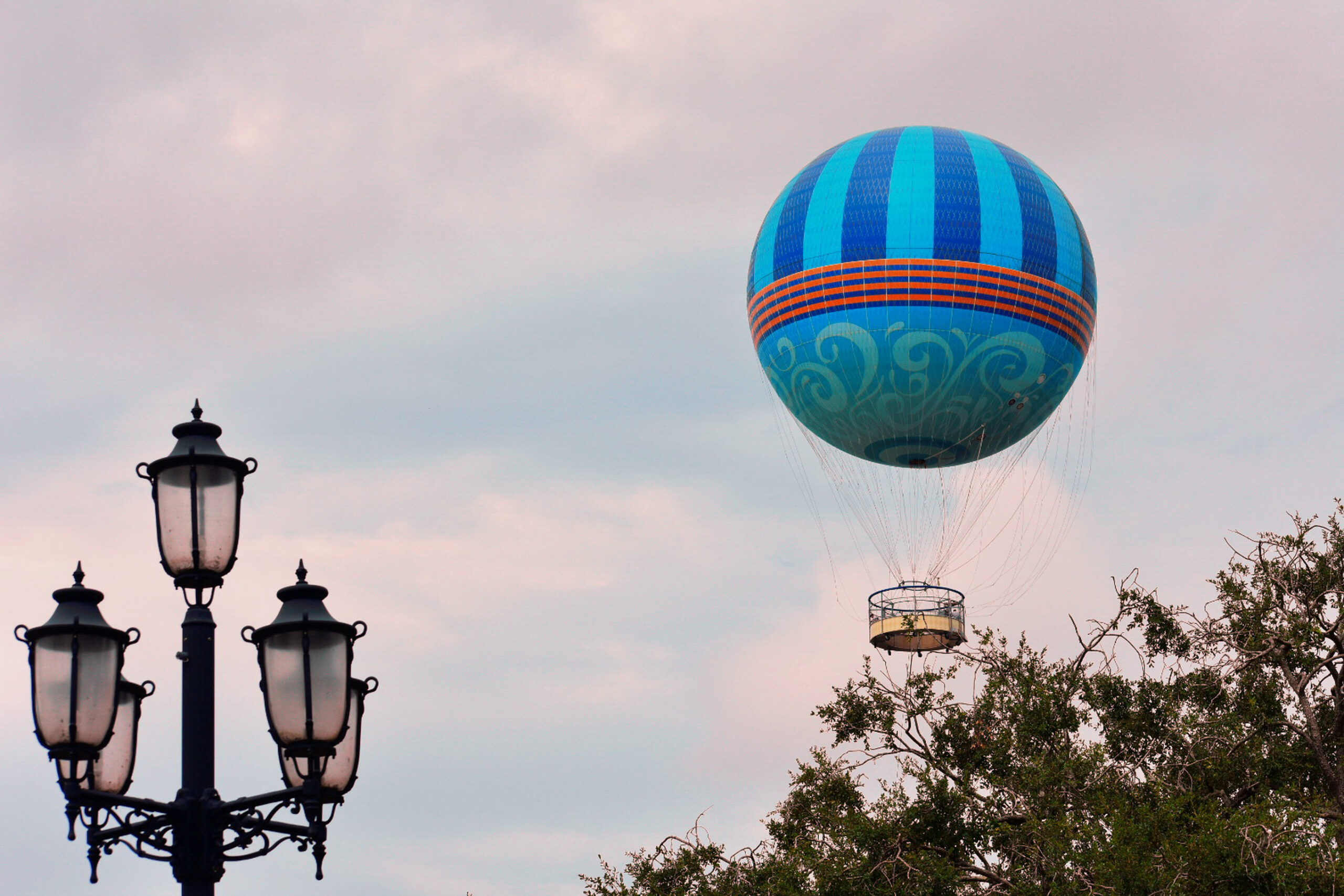 Beautiful sunset sky day with flying air balloon in Lake Buena Vista.