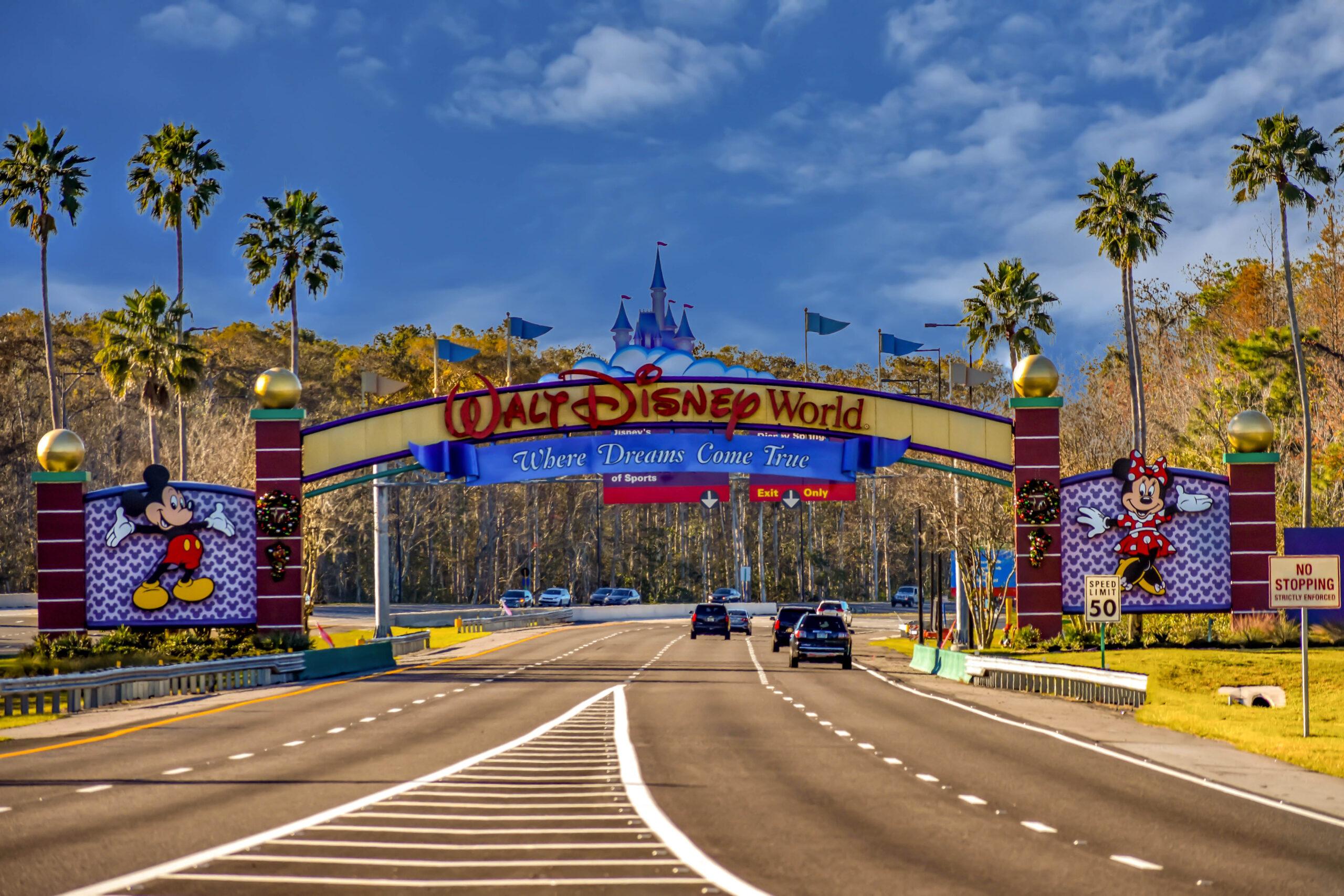 Entrance Arch of Walt Disney Theme Parks at Lake Buena Vista area.