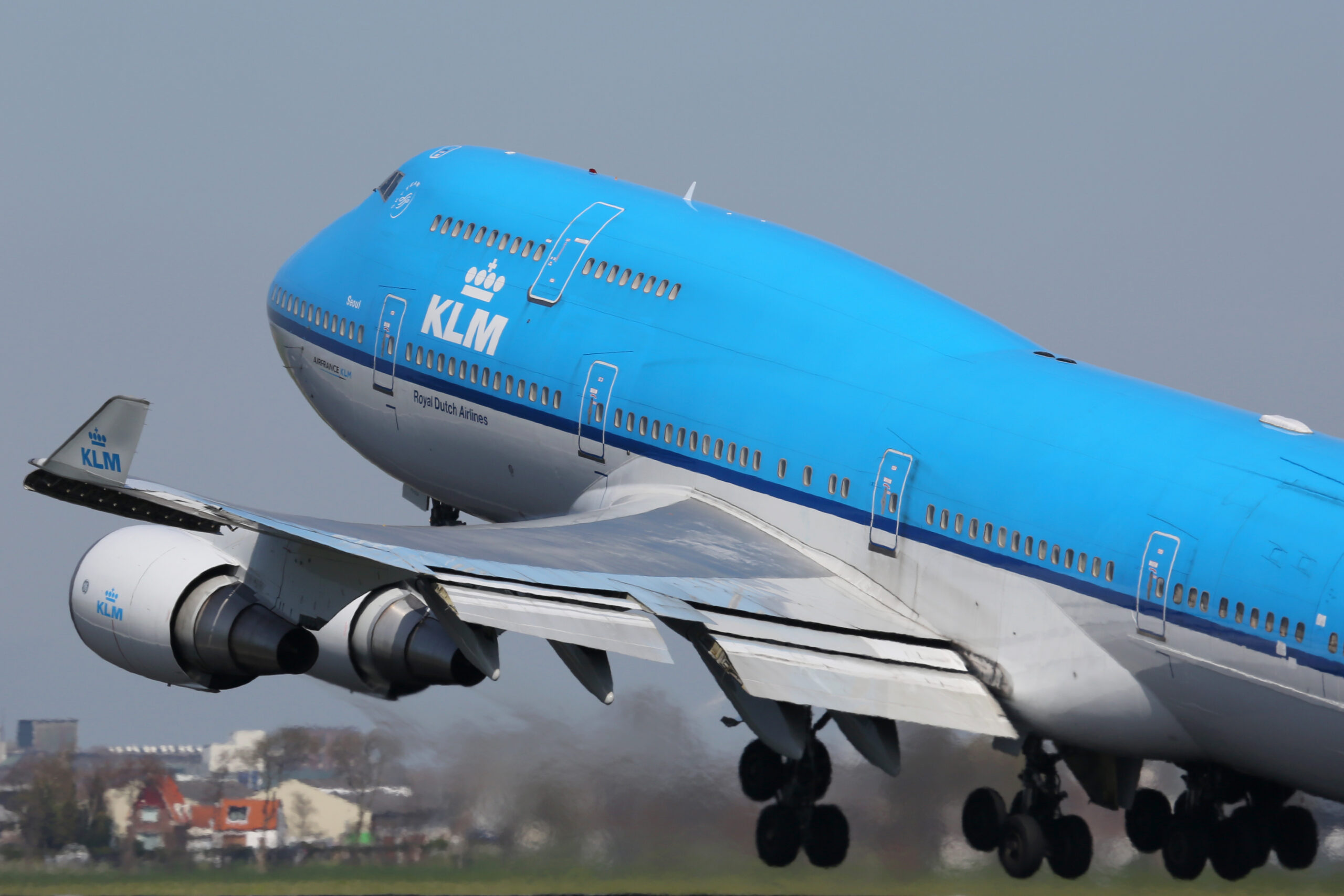 A KLM Royal Dutch Airlines Boeing 747-400 taking off on April 21, 2015 in Amsterdam. KLM is the largest airline of the Netherlands with its hub at Amsterdam airport.
