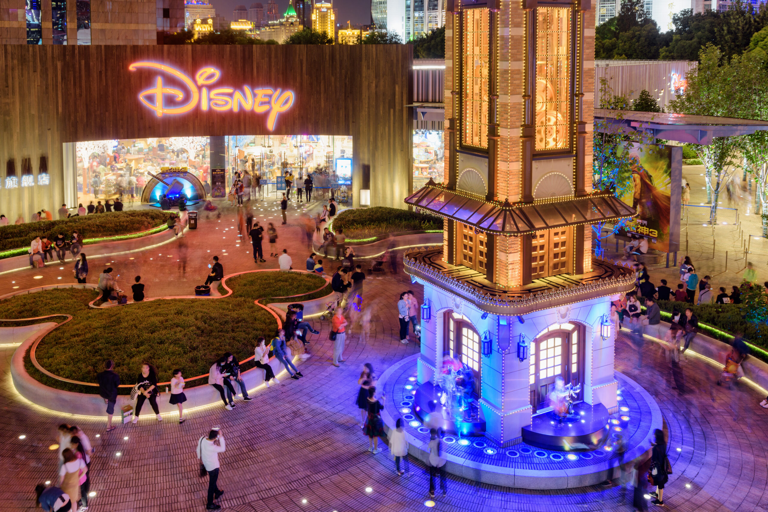 Night view of the Disney Flagship Store at the Pudong New District (Lujiazui) in downtown. Shanghai is a popular tourist destination of Asia.