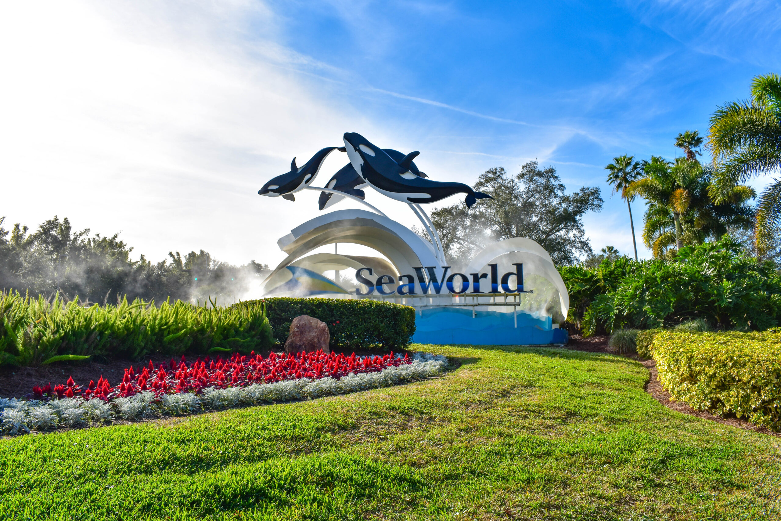 Panoramic view of SeaWorld sign in International Drive area.