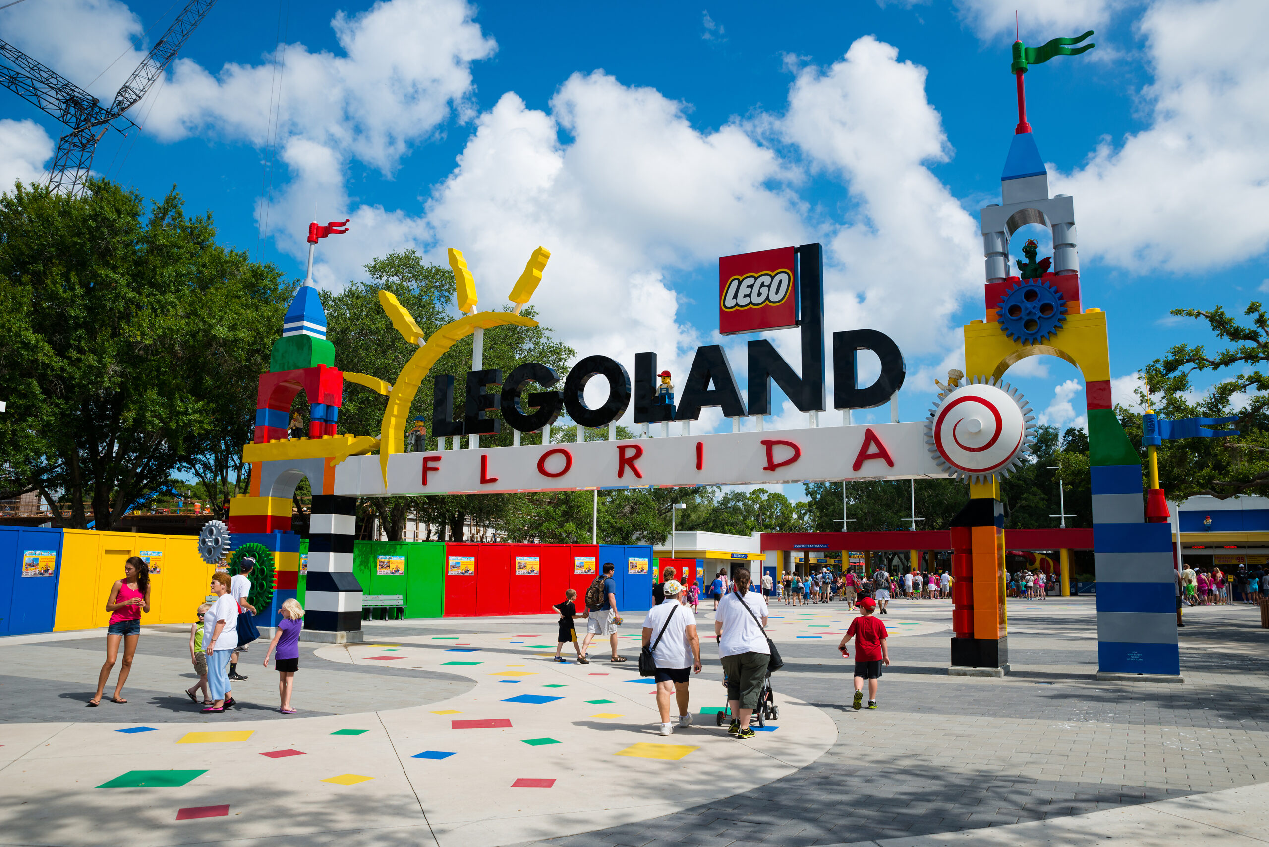 Visitors pass through the entrance to Legoland Florida in Winter Haven, FL.
