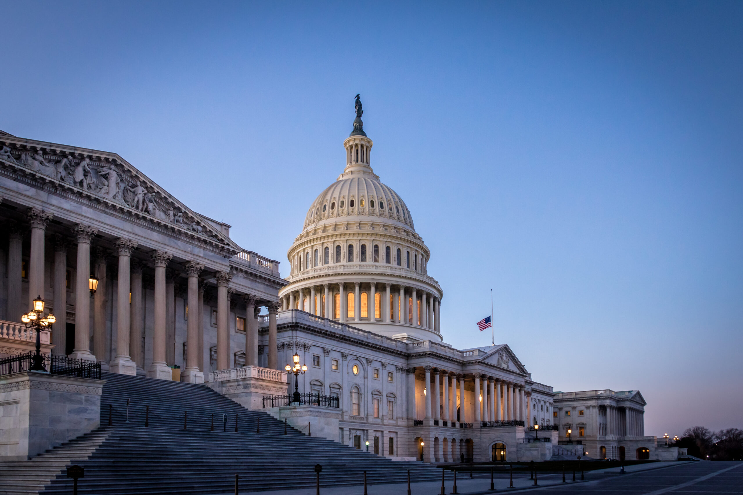 United States Capitol Building At Sunset, Washington Dc, Usa