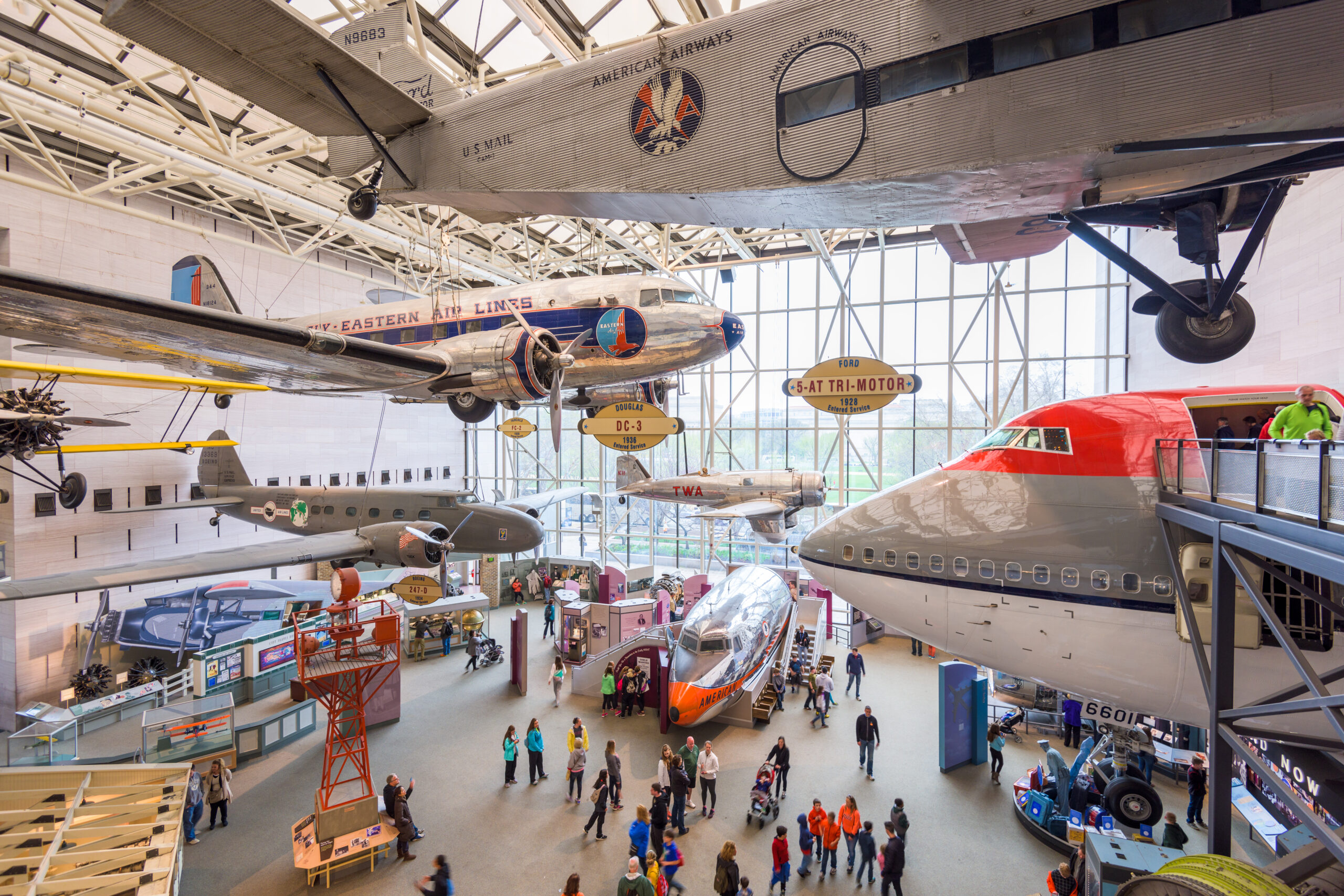 Visitors enjoy The National Air and Space Museum of the Smithsonian Institution in Washington DC.
