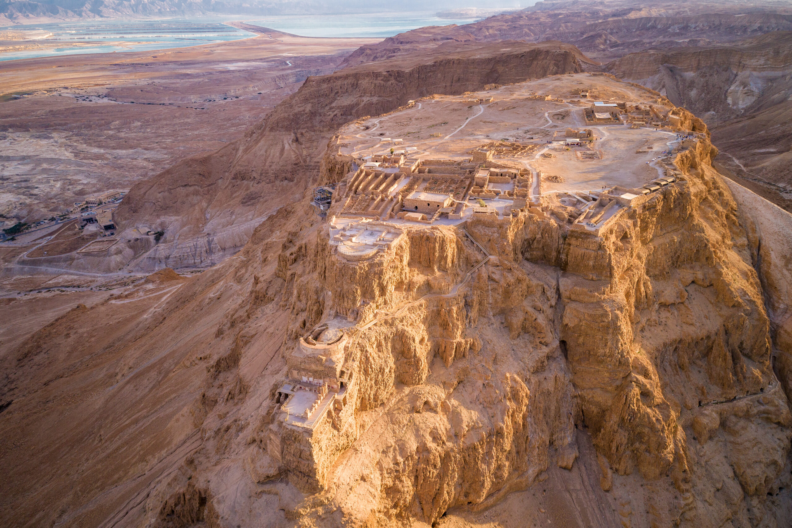 The ancient fortification in the Southern District of Israel. Masada National Park in the Dead Sea region of Israel. The fortress of Masada.