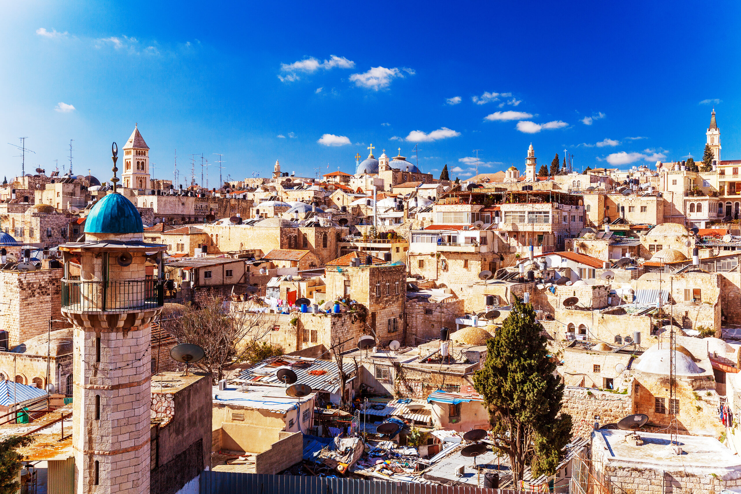 Roofs of Old City with Holy Sepulcher Church Dome, Jerusalem, Israel.