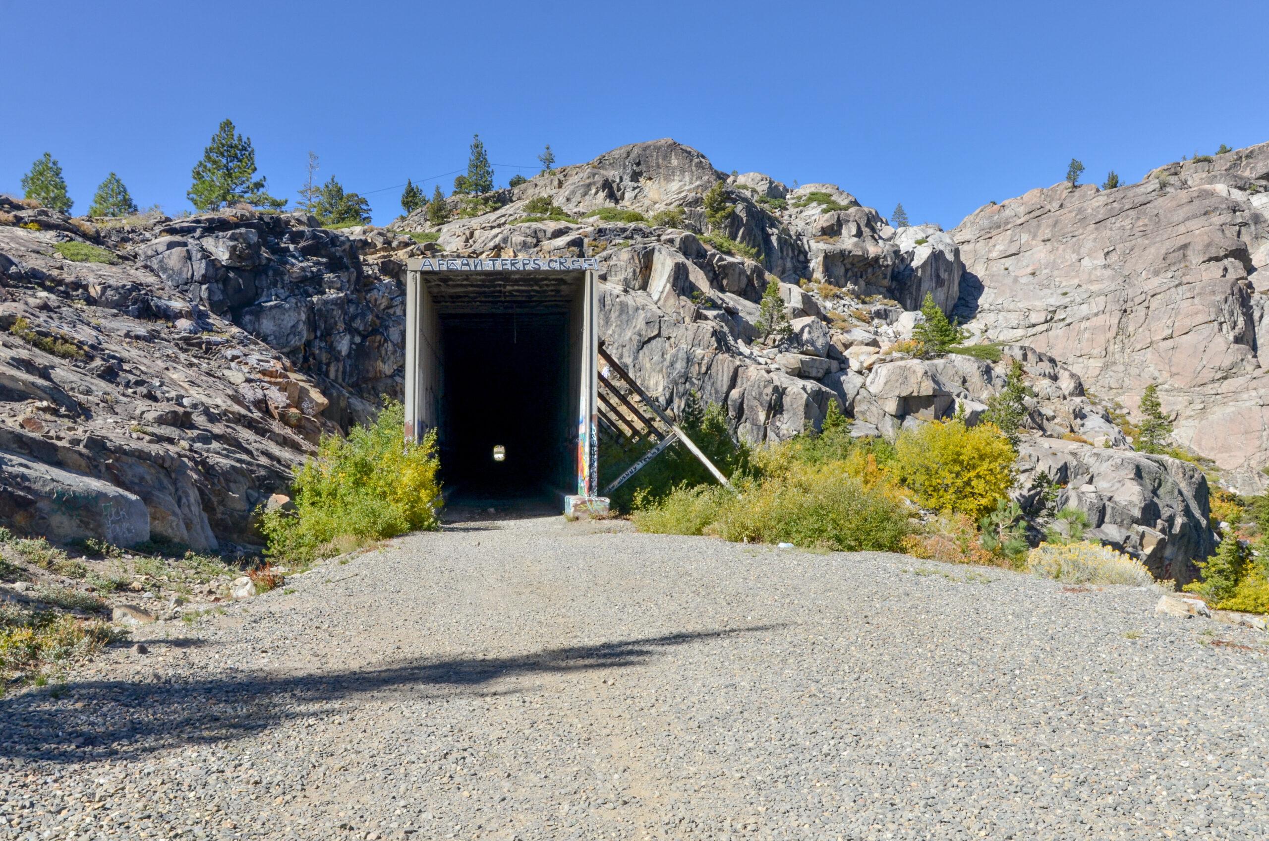 "old train tunnels nicknamed ""China Wall"" on Schallenberger Ridge near Donner Lake Truckee, Nevada county, California."