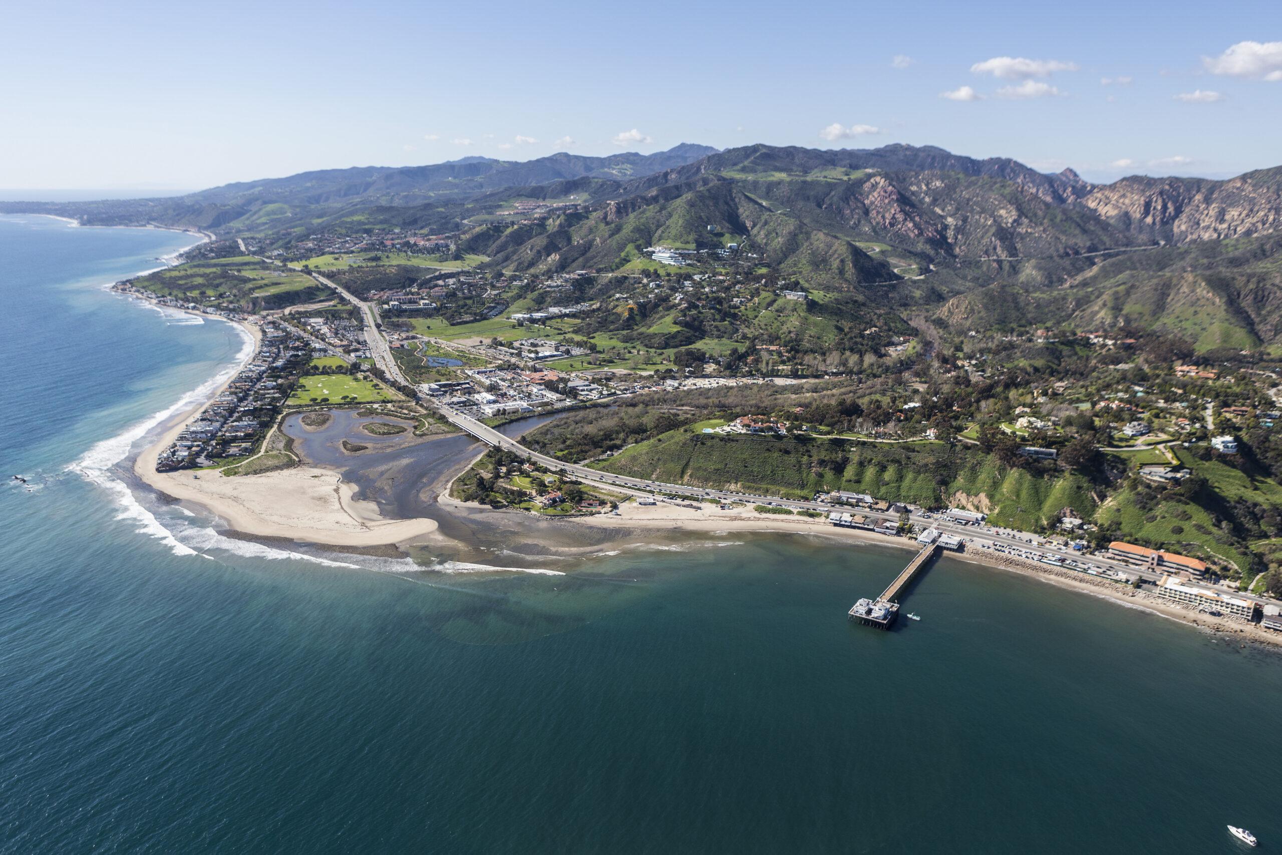 Aerial view of Malibu Pier and Surfrider Beach near Los Angeles, California.